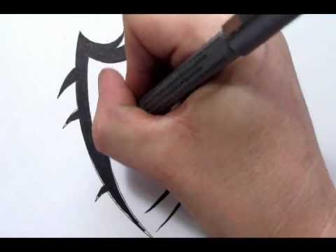 Drawing a Family Crest Shield Tattoo Design in a Tribal Style