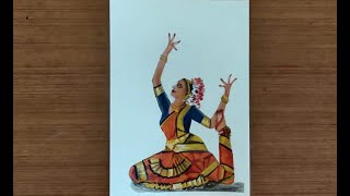 How to paint Bharatanatyam Artist in a dance pose (Nritya Mudra) | Acrylic Painting Art Lesson