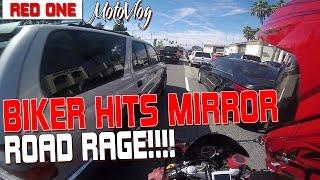 Biker Hits Mirror (Road Rage)