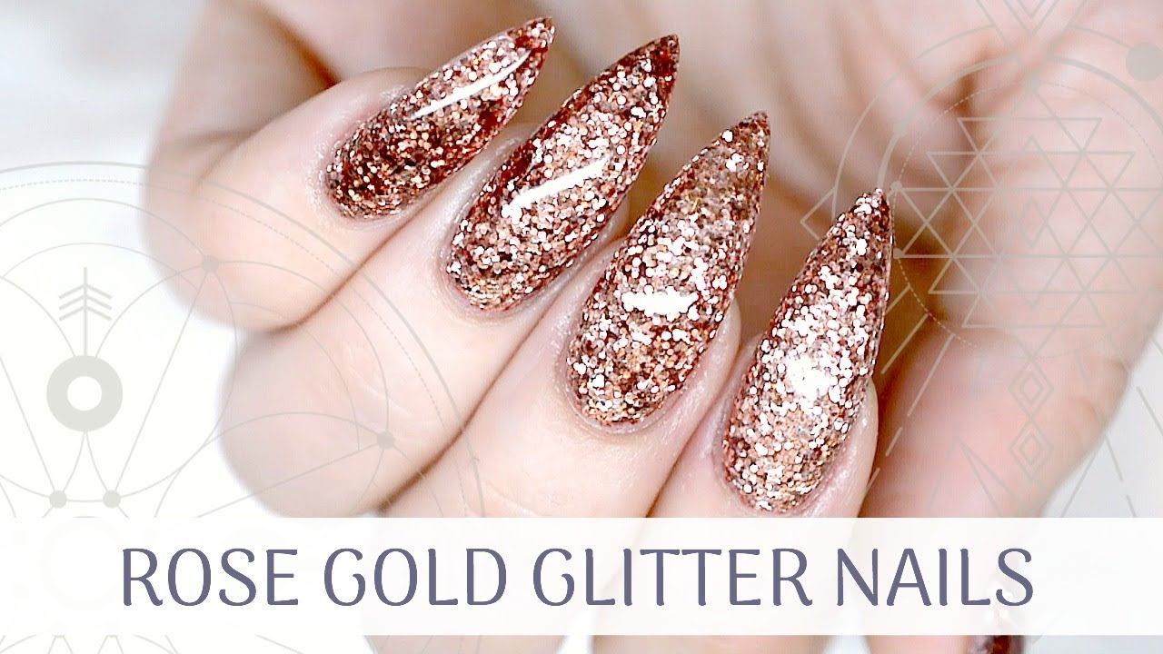Tutorial Rose Gold Glitter Nails How To Ly Gel