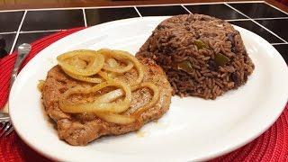 Arroz Congri y Bistec de Lomo de Cerdo   Riquísima comida Cubana!!
