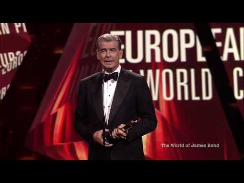 Pierce Brosnan receiving the EUROPEAN ACHIEVEMENT IN WORLD C