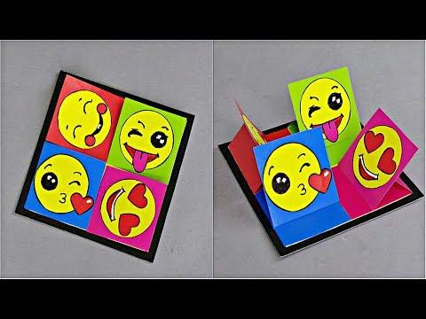 DIY - FUNNY EMOJI CARD (QUAD EASEL CARD) - TUTORIAL / DIY CARDS