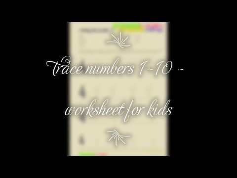 Trace numbers 1 10  worksheets for kids