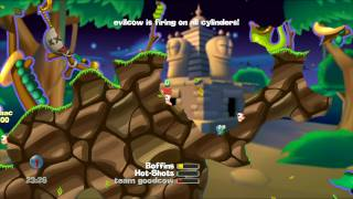Worms (PS3) - 4 player (2 CPU), pt. 3 of 3 with Lok (8/15/09) (HD, 1080i)