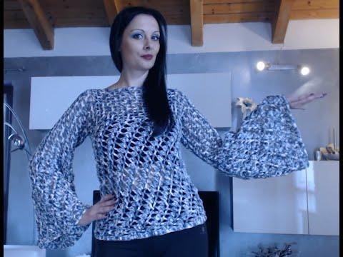 Maglione Donna Maniche Larghe Alluncinetto 1 Di 2 Youtube