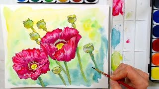 Poppies in Watercolor Tutorial // cheap supply challenge!