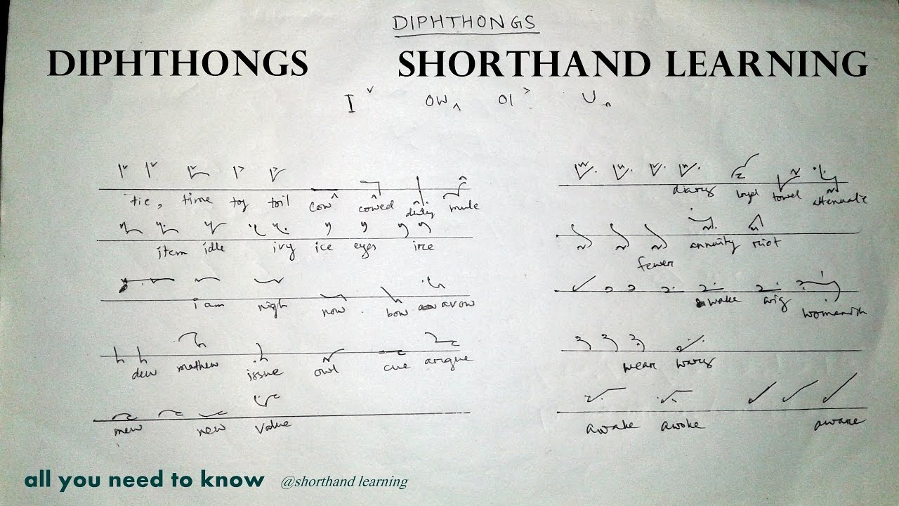 Diphthong Of English Shorthand Shorthand Learning Youtube