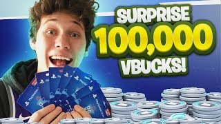 SURPRISING BEST FRIEND WITH 100,000 V BUCKS ($1000) FOR HIS BIRTHDAY!! Fortnite