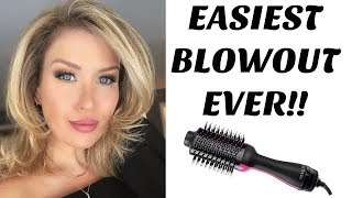 EASIEST BLOWOUT EVER! REVLON ONE STEP HAIR DRYER AND STYLER REVIEW + DEMO