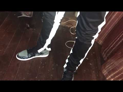 "KDNK Striped Track Pants Blk/White Ankled Zippers pants)""Try on""(Chance to Win for $2"