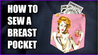 How to sew a breast pocket onto a shirt - Beginner level sewing tutorial