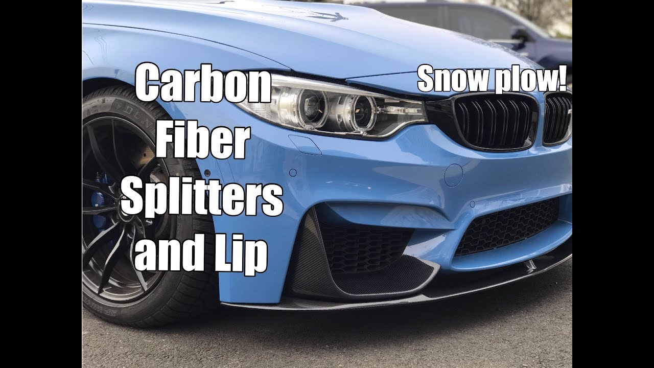 a9b90885650 Vlog 12  F80 M3 Carbon Fiber Front Splitters and Lip Installation - SNOW  PLOW!