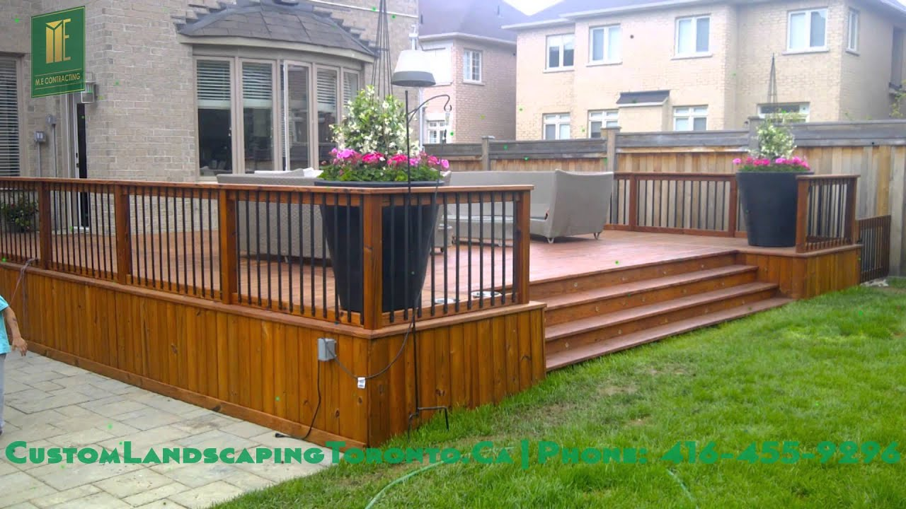 Backyard patio deck and interlocking - YouTube on Patio With Deck Ideas id=55907