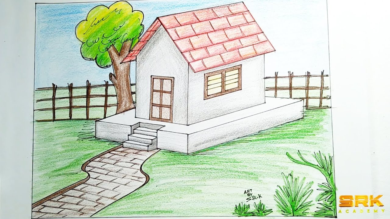 How to draw 3d house for kids step by step