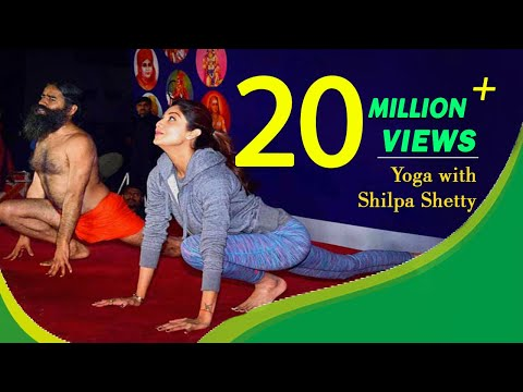 Shilpa Shetty with Swami Ramdev on Yoga Shivir at Mumbai | 19 January 2016