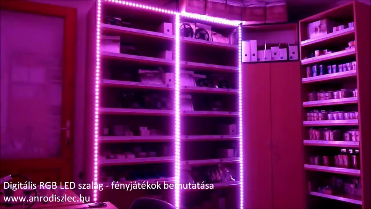 Digitális RGB LED szalag - fényjátékok bemutatása - YouTube 343e701275