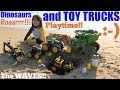 Children Playing their TOY TRUCKS and Dinosaur TOYS at the BEACH. Construction Trucks and Tractors