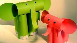 Поделки из бумаги для детей. Слон из бумаги. Поделки для детей видео.