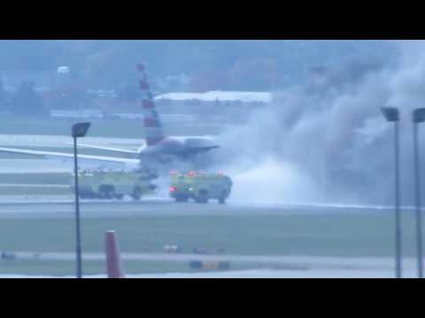 AIRCRAFT FIRE! American Airlines Boeing 767 [N345AN - AAL383] Engine Failure At ORD [10.28.2016]