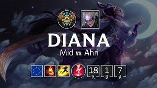 Diana Mid vs Ahri - EUW Challenger Patch 8.15