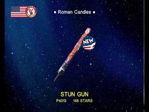 146 Shot STUN GUN ROMAN CANDLE - Kellner's Fireworks