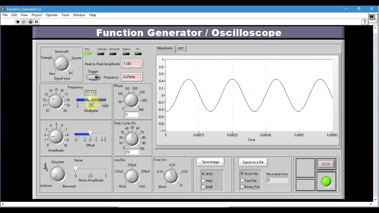 Function Generator And Oscilloscope In Labview Vi To