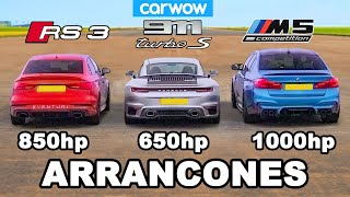 BMW M5 1,000hp vs Audi RS3 800hp vs Porsche 911 Turbo S - ARRANCONES