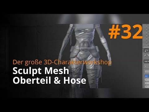 Blender 3D-Charakterworkshop Teil 1 | #32 – Sculpt Mesh Oberteil & Hose