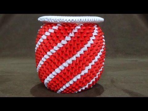 How To Make A 3d Origami Red White Spiral Vase Youtube