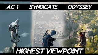 "AC Odyssey ""Jumping From Highest Viewpoint in all ASSASSINS CREED Games"" 