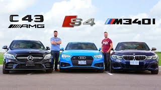 2020 BMW M340i vs Audi S4 vs Mercedes C43 AMG // Performance Sedan Face-Off