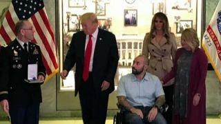 President Trump presents Purple Heart to US service member