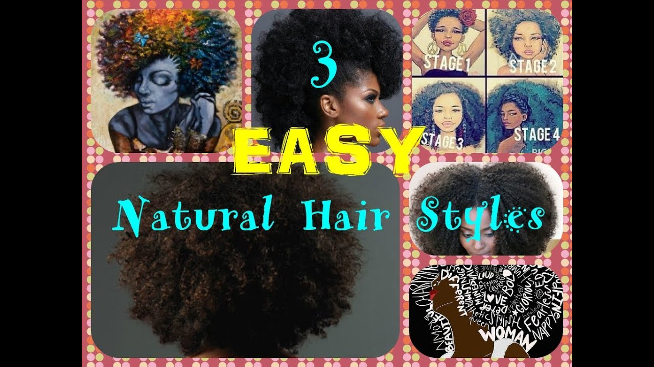 3 Easy Natural Hair Styles Short Hair Medium Length Natural Hair Youtube