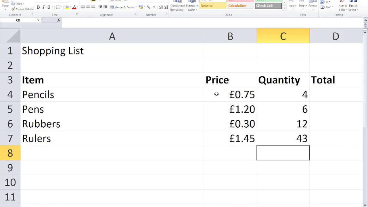 excel shopping list