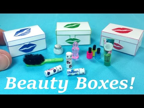 DIY Miniature Beauty Box / Case with Accessories - YouTube