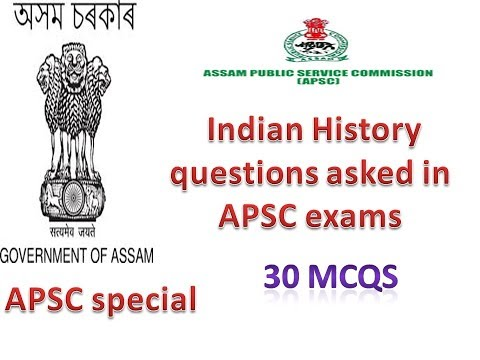 APSC Indian History Series Part 1 (30 mcqs) also imp for Health, forest etc