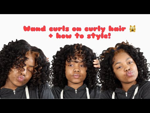 Wand curls on curly hair plus 3 ways to style bob wig! Ft. Best hair buy - 동영상
