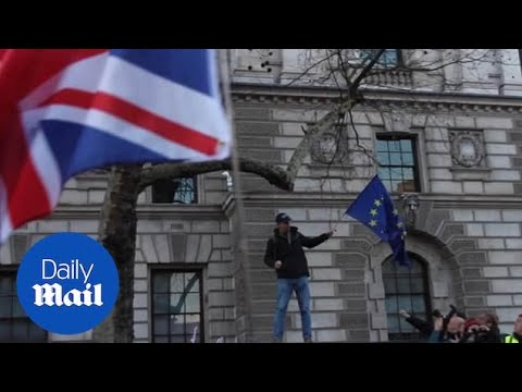Brexiteer Attempts To Set Fire To EU Flag - Turns Out It's Fireproof