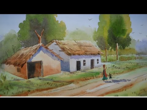 Watercolor Landscape Painting Of Village // Video By Art Study