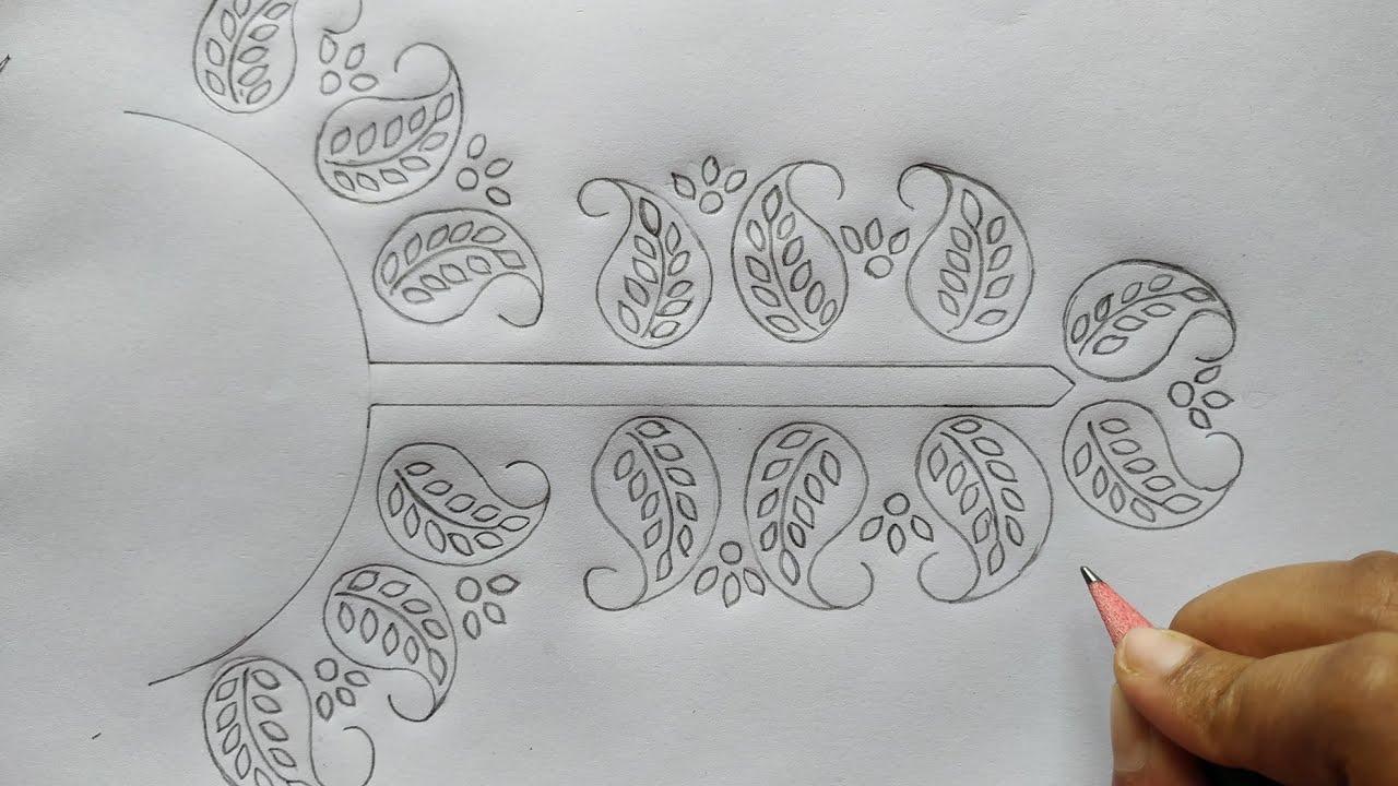 hand embroidery neck design drawing for dress, জামার গলার ডিজাইন আর্ট