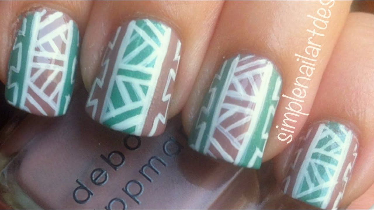 Tribal print nail art youtube prinsesfo Image collections
