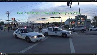 Miami Critical Mass July 25th 2014 With Miami Police Escort. Downtown Miami