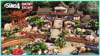 Sims 4 SNOWY ESCAPE MANSION ⛩️ [No CC]- Japanese Build -  Sims 4 Speed Build | Kate Emerald