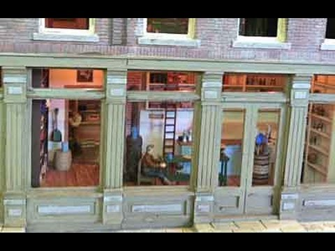 """O"" scale model railroad hotel with full detail and full interior."