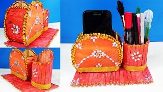 How To Make Popsicle Stick Pen Stand And Mobile Phone Holder