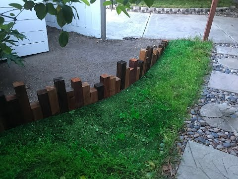 DIY Backyard Outdoor Wood Edging Landscaping