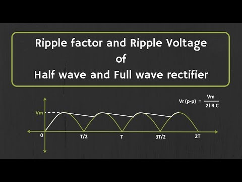 Calculation Of Ripple Factor And Ripple Voltage For Half Wave Rectifier And Full Wave Rectifier