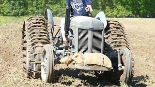Ferguson TE20 w/ Tracks Working Hard in The Field Ploughing w/ Ferguson Disc Plough | Danish Agri