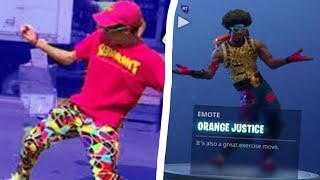 FORTNITE DANCES IN REAL LIFE!! ( Orange Justice Hype Popcorn )